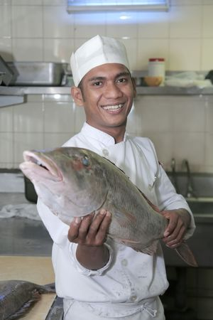 butchering: chef and fish