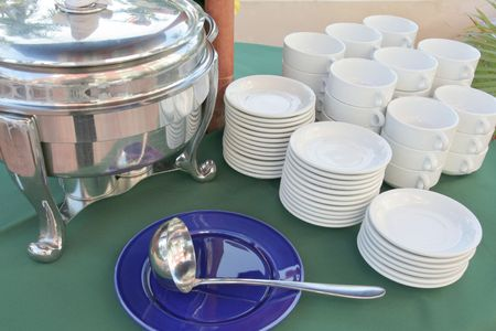 chafing dish: Kitchen ware at soup section in restaurant buffet dinner