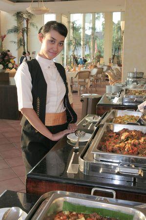 waitress at buffet photo