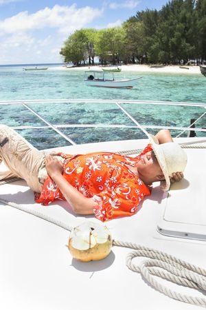 yacht and island Stock Photo - 3853703