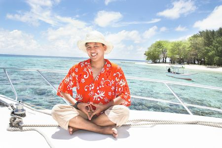 yacht and island photo