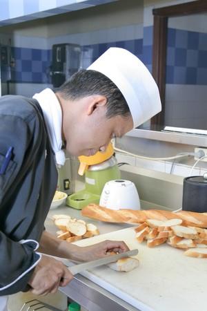 making a sandwich: chef making open face sandwich food