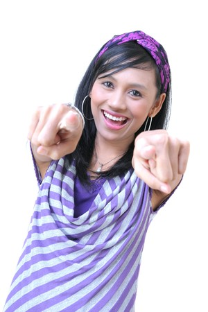 cheerful girl pointing to camera Stock Photo - 4145074