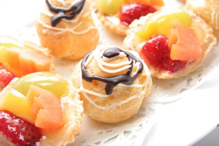 french pastry: French pastry on white plate