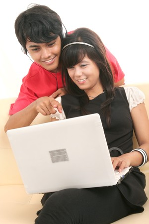happy couple with laptop Stock Photo - 4856795