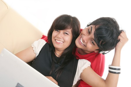 happy couple with laptop Stock Photo - 4856818