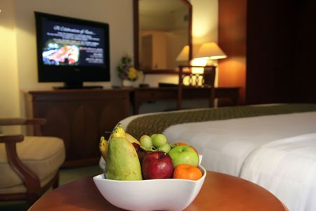 room service: fruits in hotel room Stock Photo