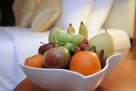 fruits in hotel room photo