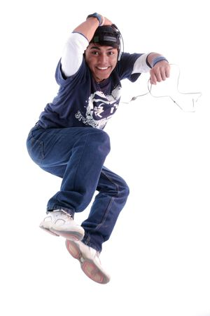 man jumping with music player photo