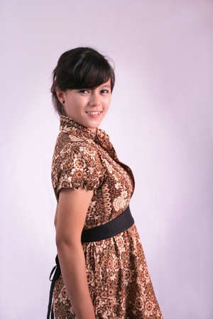 asian woman wearing batik photo