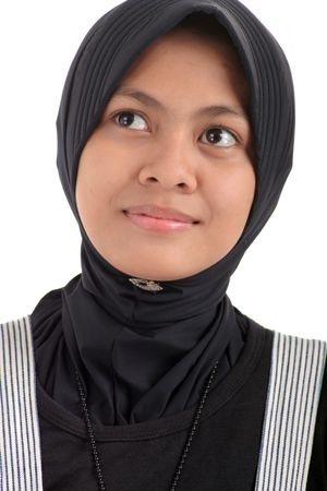 purdah: Woman in muslim dress smiling Stock Photo