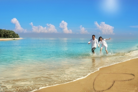 honeymoon couple: couple honeymoon Stock Photo