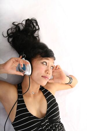 enjoy music on headphones photo