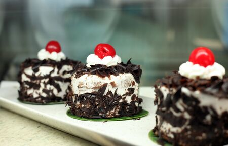 black forest cakes in display photo