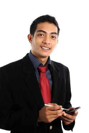 asian business man with PDA Stock Photo - 7479800
