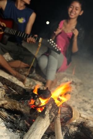 campfire at tanjung bira beach photo