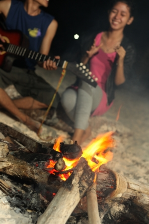 campfire at tanjung bira beach