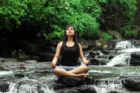 yoga or meditation in nature Stock Photo - 11382182