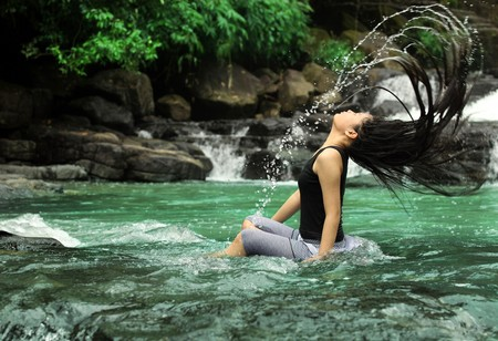 long life: long hair splash in nature