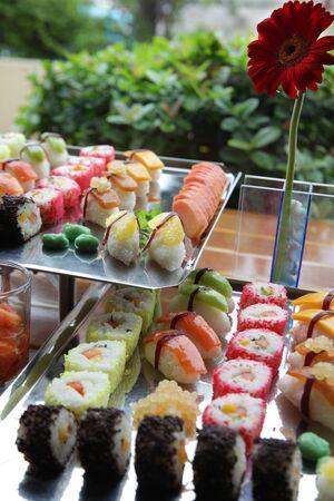 japanese sushi buffet food photo
