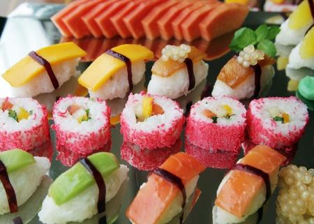 japanese cuisine: vegetarian japanese sushi food Stock Photo