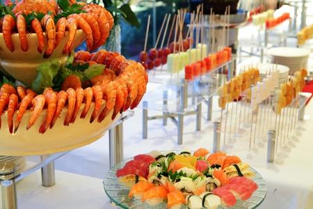 setup: prawn or shrimp seafood at buffet dinner