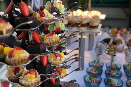 cakes at buffet dinner Stock Photo
