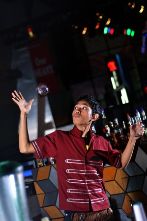 bartender doing attraction at work Stock Photo - 10400234