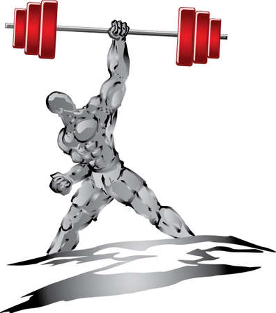 barbell: Muscleman with heavy barbell