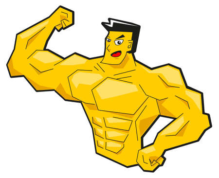 six pack abs: illustration of cartoon muscleman