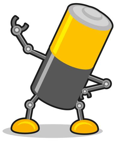 pilas: Ilustraci�n de bater�a de robot Vectores