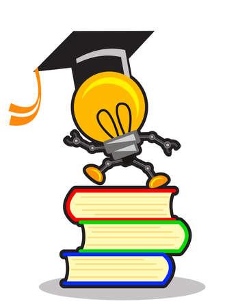 thinking machine: illustration of smart lamp Illustration