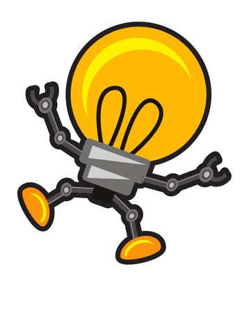 robot caricatura: ilustraci�n de la l�mpara de robot