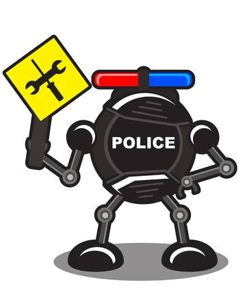 illustration of police robot Vector