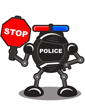 illustration of robotic police Stock Vector - 10881972