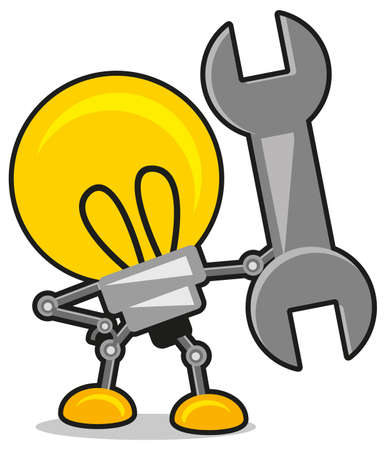 metal light bulb icon: lamp and wrench