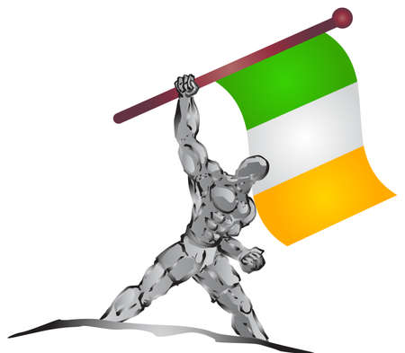 national hero: muscleman and flag