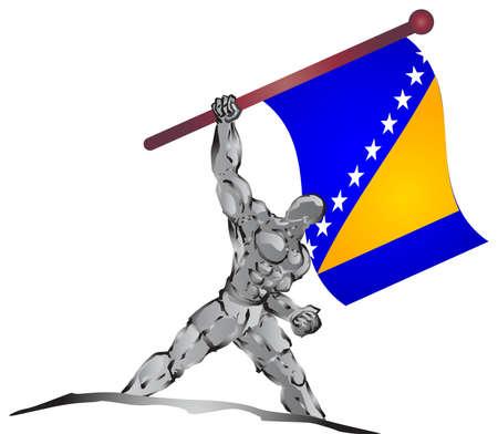 herzegovina: muscleman and flag