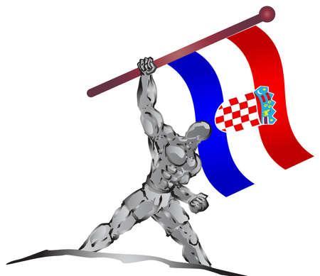 bandera croacia: musculoso y la bandera