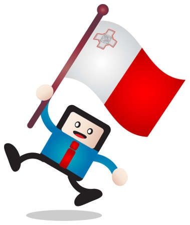 malta flag: cartoon flag