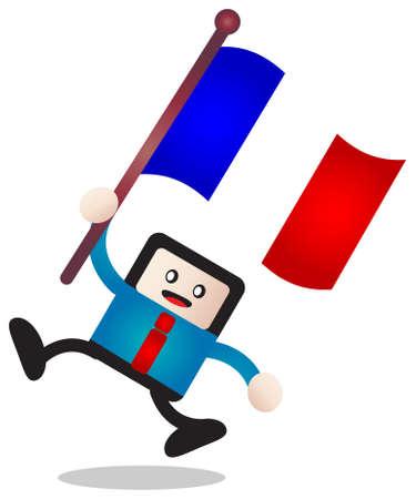 french flag: cartoon flag