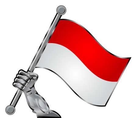 indonesien: Hand Flagge