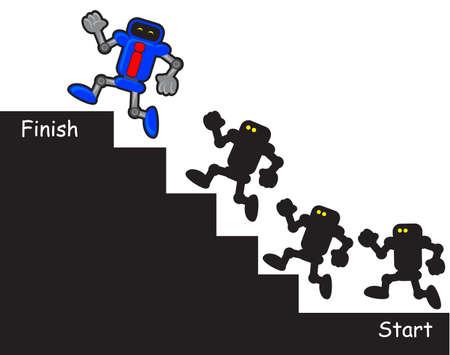 follow the leader: funny illustration