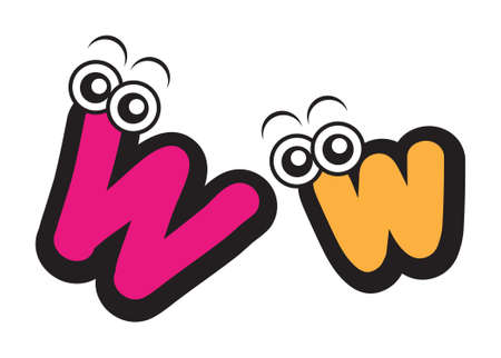 illustration of live cartoon font type character