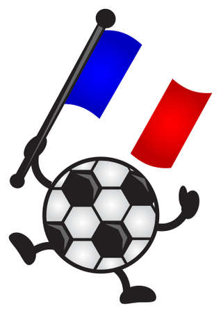 illustration of funny cartoon soccer character bring flag Vector
