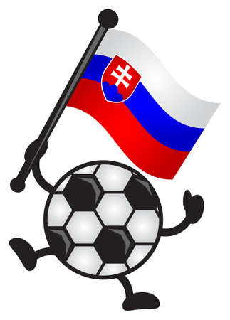 illustration of funny cartoon soccer character bring flag Vector