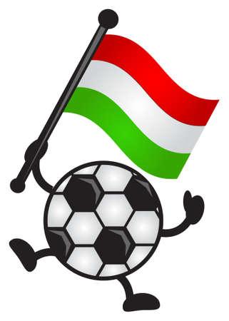 bring: illustration of funny cartoon soccer character bring flag Illustration