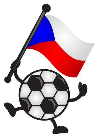 illustration of funny cartoon soccer character bring flag Stock Vector - 12821881