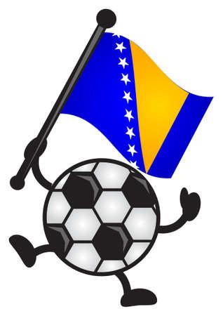 bosnia and herzegovina: illustration of funny cartoon soccer character bring flag Illustration