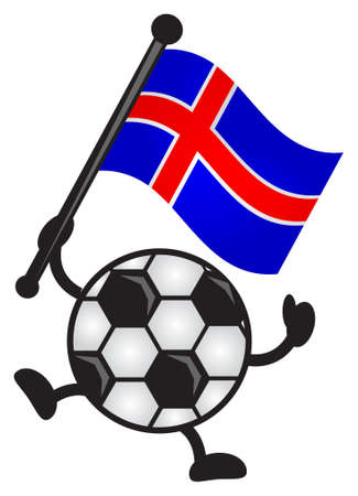 iceland flag: illustration of funny cartoon soccer character bring flag Illustration